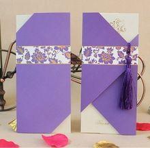 Фиолетовый элегантные свадебные карточки приглашения 2014 свадебные приглашения с и бесплатно печатные свадебные приглашения(China (Mainland))