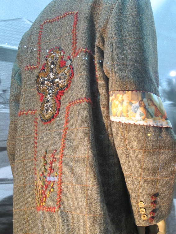 Coat detail from historical Purfex mannequin exhibition at Lopdell House Gallery.