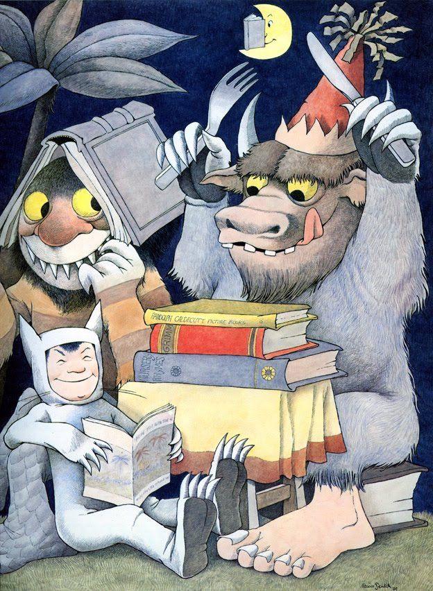 Adoramos las bibliotecas monstruosas. Ilustración de Maurice Sendak