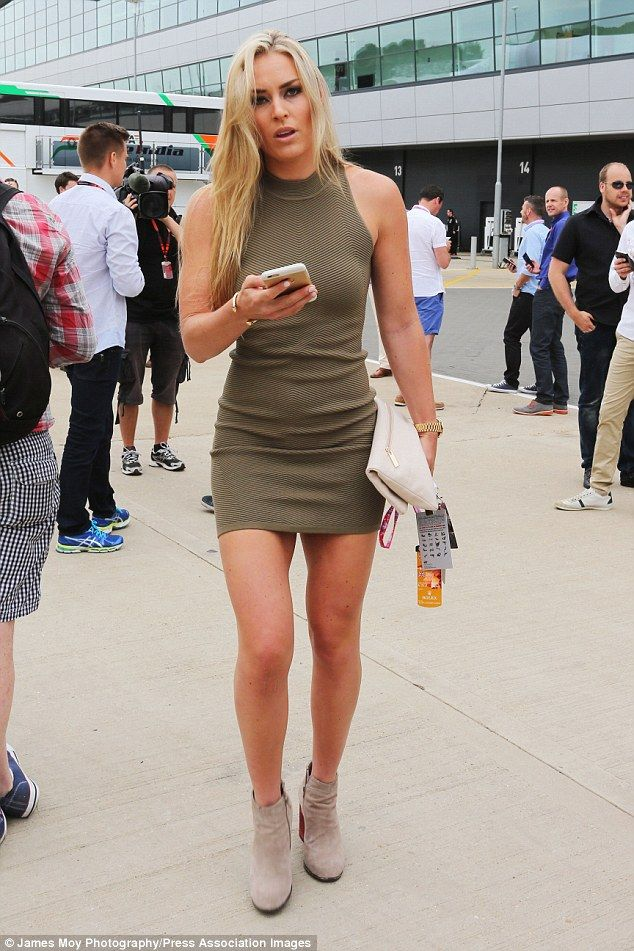 If anybody can wear it...! Lindsey Vonn was a true knockout as she arrived at the British Grand Prix at the Silverstone Circuit in the UK on Sunday