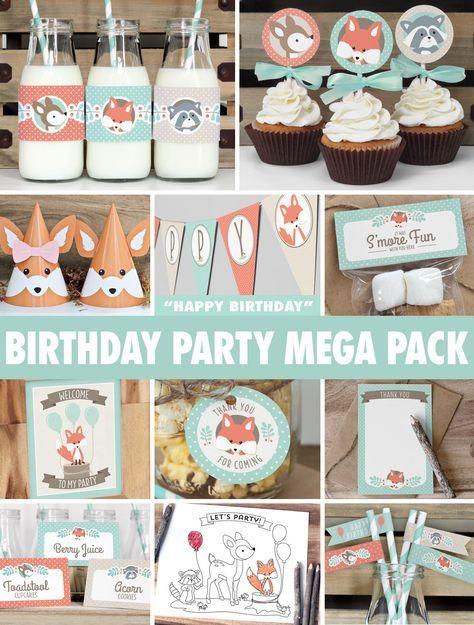 Woodland Birthday Party Mega Pack // INSTANT DOWNLOAD // Mint & Coral Birthday Decorations // Deer Fox Raccoon // Printable BP03 door ThePrettyPaperStudio op Etsy https://www.etsy.com/nl/listing/202726587/woodland-birthday-party-mega-pack