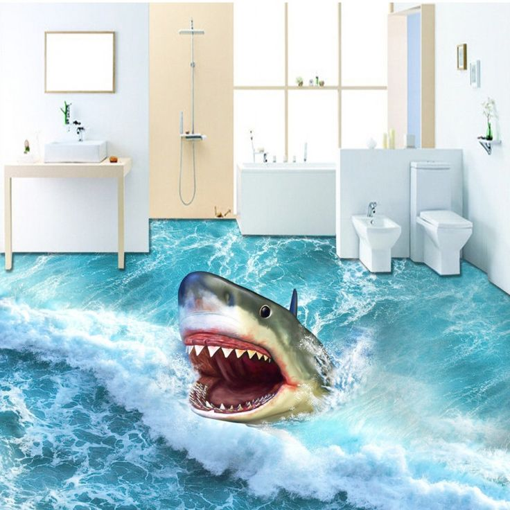 Free shipping 3D custom flooring painting wallpaper Fantasy Ocean Wave Big Shark bedroom aquarium wallpaper mural #Affiliate