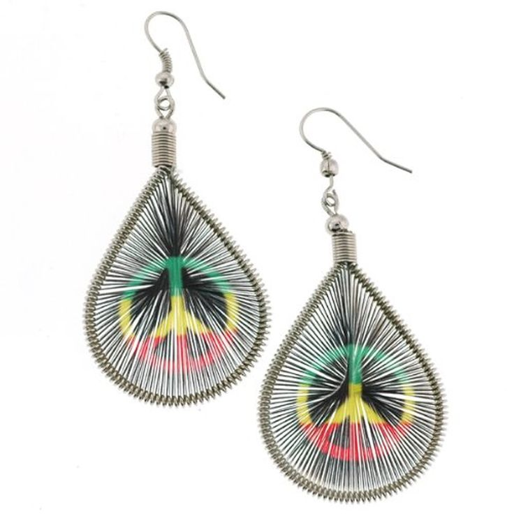 Colorful Handcrafted Earrings in Rasta Peace Sign Image - 2.5'' Overall Length - Made in Peru