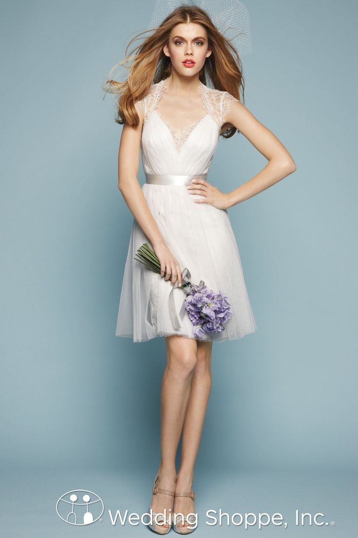 A stunning informal cap sleeve wedding dress. Floor length also available.