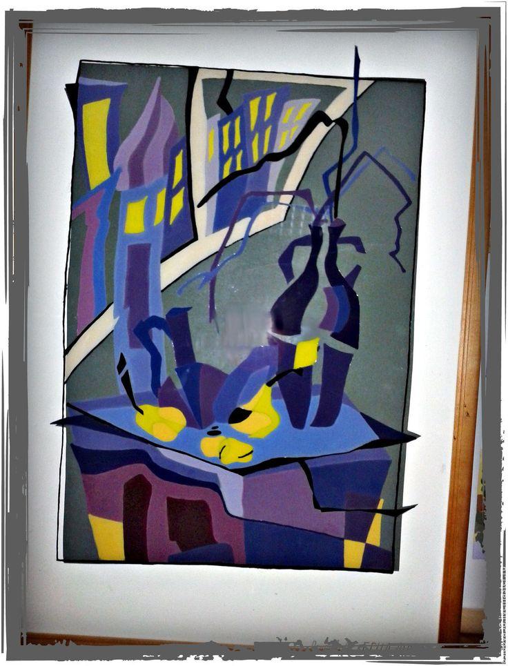 """Купить Картина """"Стилизованный натюрморт"""" - абстрактная картина, фиолетовый, желтый, серый, белый, стилизация"""