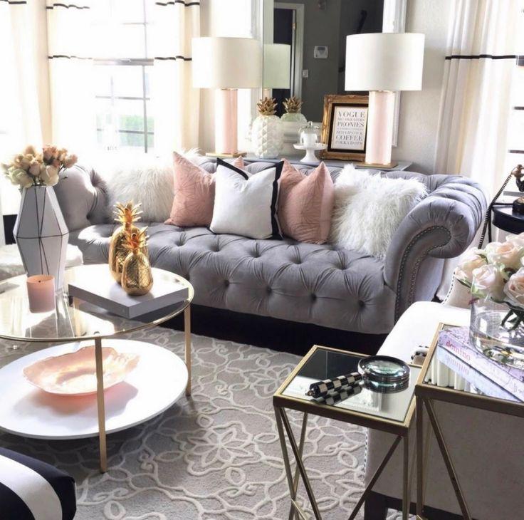 Living Room Transformation, Glam Living Room