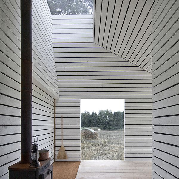 Ask Anker Aistrup - Small House for Reading - Reused wood planks - Limeplastered