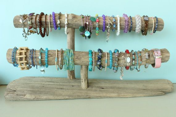 Driftwood Jewelry Holder, Two-Level Driftwood Jewelry Stand, Necklace & Bracelet Display