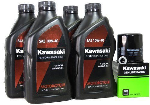 2007 Kawasaki NINJA ZX-6R Oil Change Kit  Outstanding engine and bearing wear protection  Prolonged engine life through improved engine cleanliness and reduced oil volatility  Improved shift quality through enhanced transmission / clutch performance and dependability  Recommended in **Kits Includes 4 Quarts Of Oil, One Genuine OEM Kawasaki Oil Filter, and One Crush Washer. **Kits Includes 4 Quarts Of Oil, One Genuine OEM Kawasaki Oil Filter, and One Crush Washer. Outstanding engine a..