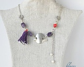 necklace purple semiprecious and red corals..