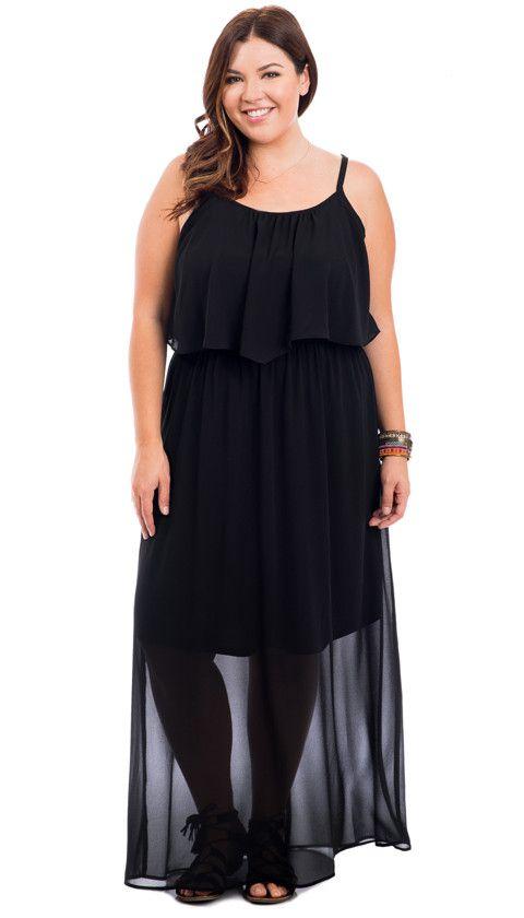 Plus Size Black Flounce Cami Maxi Dress