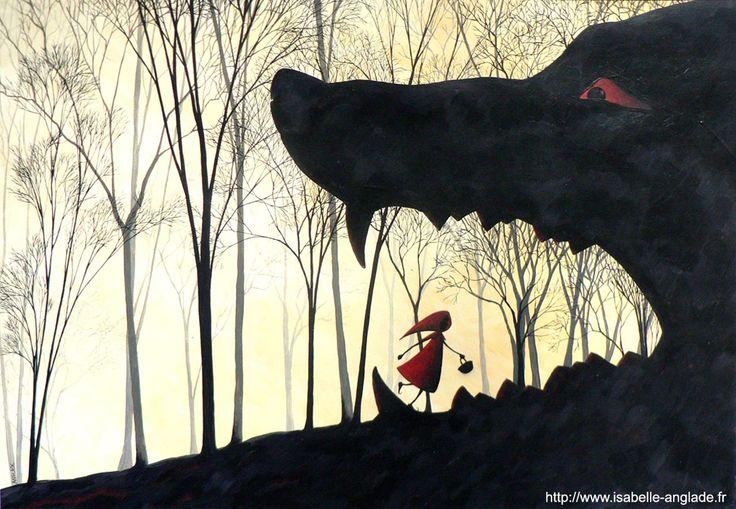 Le Petit Chaperon rouge  (acrylique) par Isabelle Anglade, illustratrice