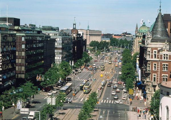 View of a central avenue, Helsinki, Finland