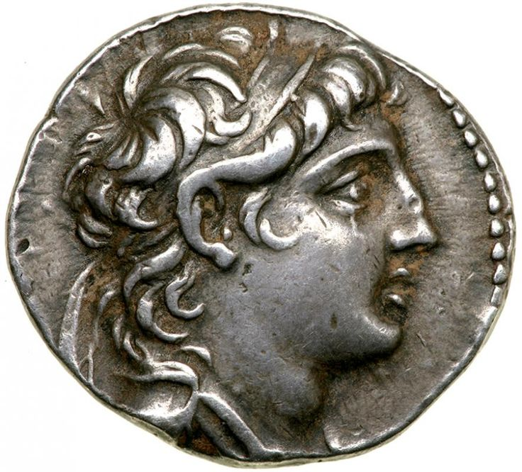 Seleukid Kingdom. Antiochos VII Euergetes. Silver Tetradrachm (13.9 g), 138-129 BC. AEF Tyre, SE 174 (139/8 BC). Diademed and draped bust of Antiochos VII right. BAΣIΛEΩΣ ANTIOΧOY, eagle standing left on prow, palm over far wing; in left field, IE above club of Tyre; in right field, monogram above date (ΔOP); between legs, monogram. SC 2109.1a; Newell 108; HGC 9, 1074. Attractive antique toning. Estimated Value $400 - 600. #Coins #Ancient #Greek #MADonC