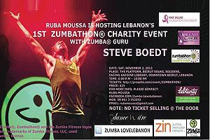 Get moving and sweat off those extra pounds at Ruba Moussa's 1st Zumbathon® Charity Event in Lebanon with mega celebrity Zumba education specialist and international fitness presenter, Zes