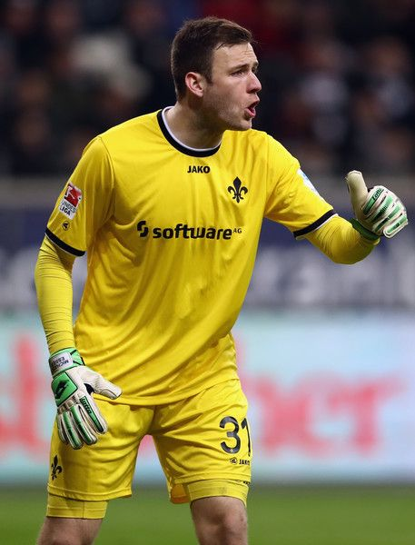 Goalkeeper Michael Esser of Darmstadt reacts during the Bundesliga match between Eintracht Frankfurt and SV Darmstadt 98 at Commerzbank-Arena on February 5, 2017 in Frankfurt am Main, Germany.
