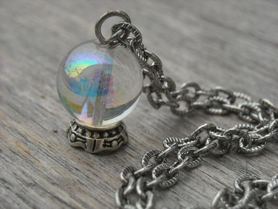 Crystal Ball Necklace Fortune Teller Jewelry Gypsy Gothic Goth Oracle Mystical Wiccan Pagan Wicca Occult Magic Witchcraft Witch Craft Tarot  SOLD!!
