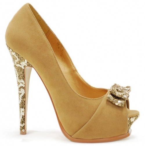 They have them in silver too! Gold Peep Toe Heels with Glitter - Fashion Shoes by Mixx Shuz