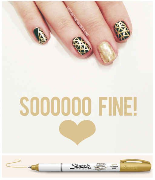 Use sharpie for lines and finer designs. It comes off with rubbing alcohol. | 32 Easy Nail Art Hacks For The Perfect Manicure