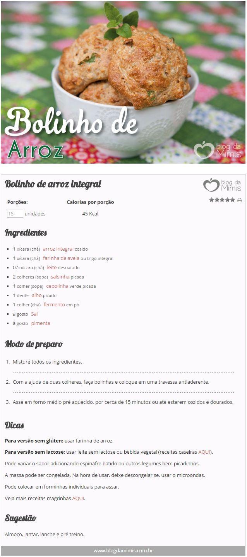 Bolinho de arroz integral - Blog da Mimis - Receita pouco calórica, rica em fibras e super econômica.