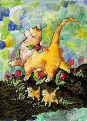 Attitude Momma Cat with Kittens Moon Watercolor at ArtistRising.com