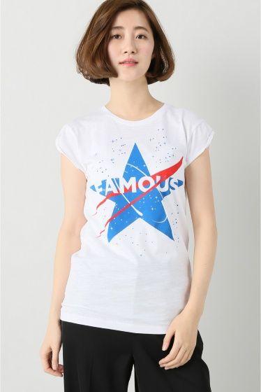 """HAPPINESS FAMOUS STAR  HAPPINESS FAMOUS STAR 7020 2016AW FIGARO Paris デザインTシャツで有名なイタリアブランド\""""HAPPINESS\""""よりTシャツが登場 ユニークなデザインとシルエットにこだわったTシャツはシーズン問わずワードローブに加えたいアイテム 女性らしいコンパクトなサイズ感でカーディガンやコートのインナーとしても重宝します HAPPINESS 世界中の有名デパートやセレクトショップで人気のイタリア製のTシャツブランドです スタイリングのポイントになる遊び心あるプリントが男女問わず人気です  モデルサイズ:身長:165cm バスト:80cm ウェスト:60cm ヒップ:86cm 着用サイズ:38"""