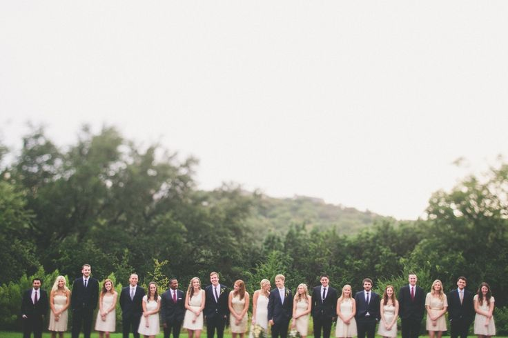 Large Bridal Party  (love negative space and straight lines)