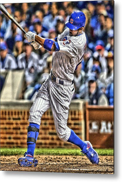 Dexter Fowler Chicago Cubs Metal Print by Joe Hamilton.  All metal prints are professionally printed, packaged, and shipped within 3 - 4 business days and delivered ready-to-hang on your wall. Choose from multiple sizes and mounting options.