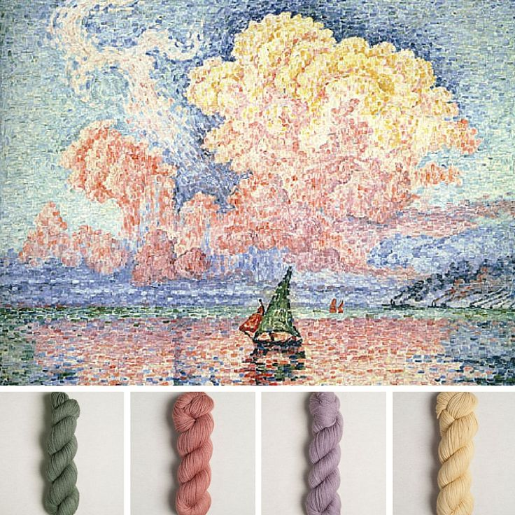 Antibes, le nuage rose by Paul Signac. Yarn Quince&Co Tern