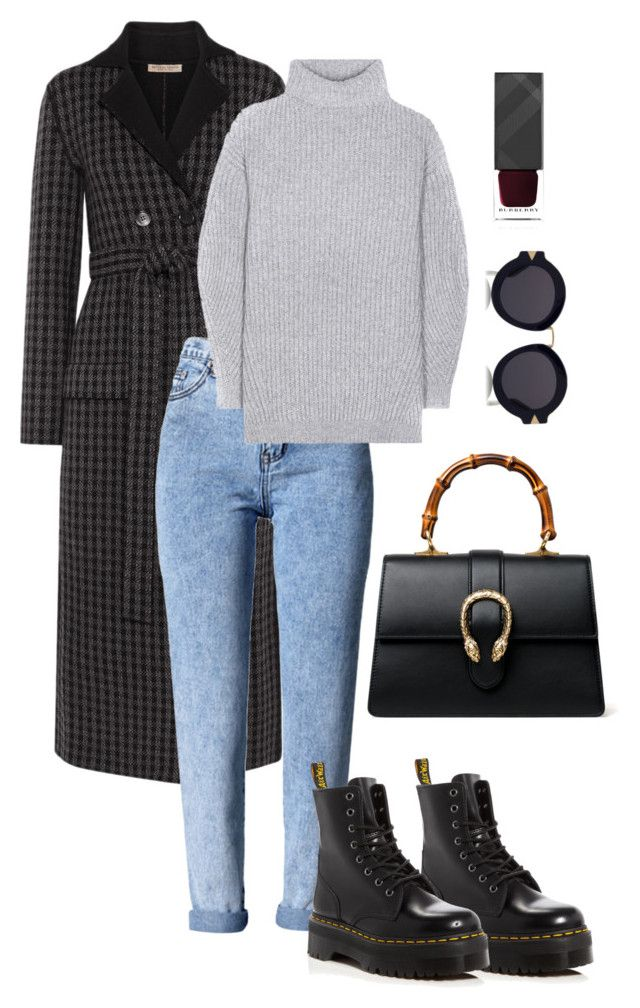 """""""Casual Friday"""" by trend-anonymous on Polyvore featuring Gucci, Bottega Veneta, WithChic, Dr. Martens, Acne Studios, Karen Walker, Burberry, polyvoreeditorial and falltrend"""