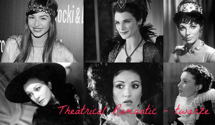 Faces of Theatrical Romantic women. Typ urody Theatrical Romantic – femme fatale.