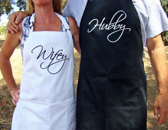 Hubby, Wifey apron set, couple gift, cotton anniversary gift, couple shower gift - Black and white