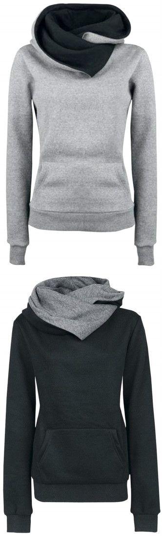 Women's Solid Color Long Sleeve Hooded Sweatshirt - OASAP.com