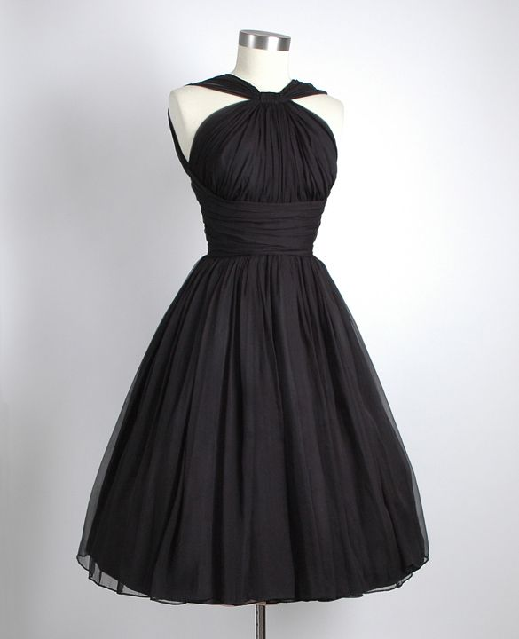 1950's Black Gathered Chiffon Party Dress
