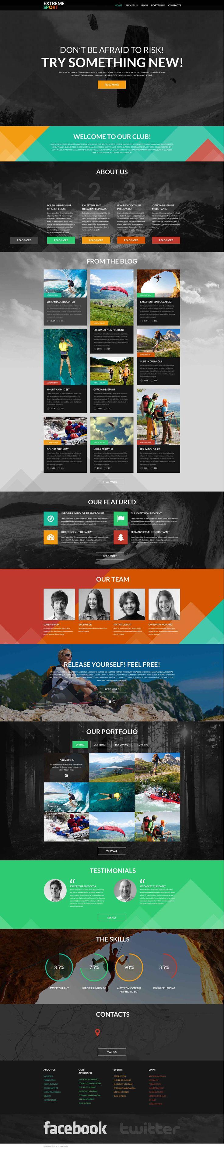 Motyw WordPress na temat:  sporty ekstremalne. Dodatkowe funkcje, pełna dokumentacja i zdjęcia stockowe są włączone.