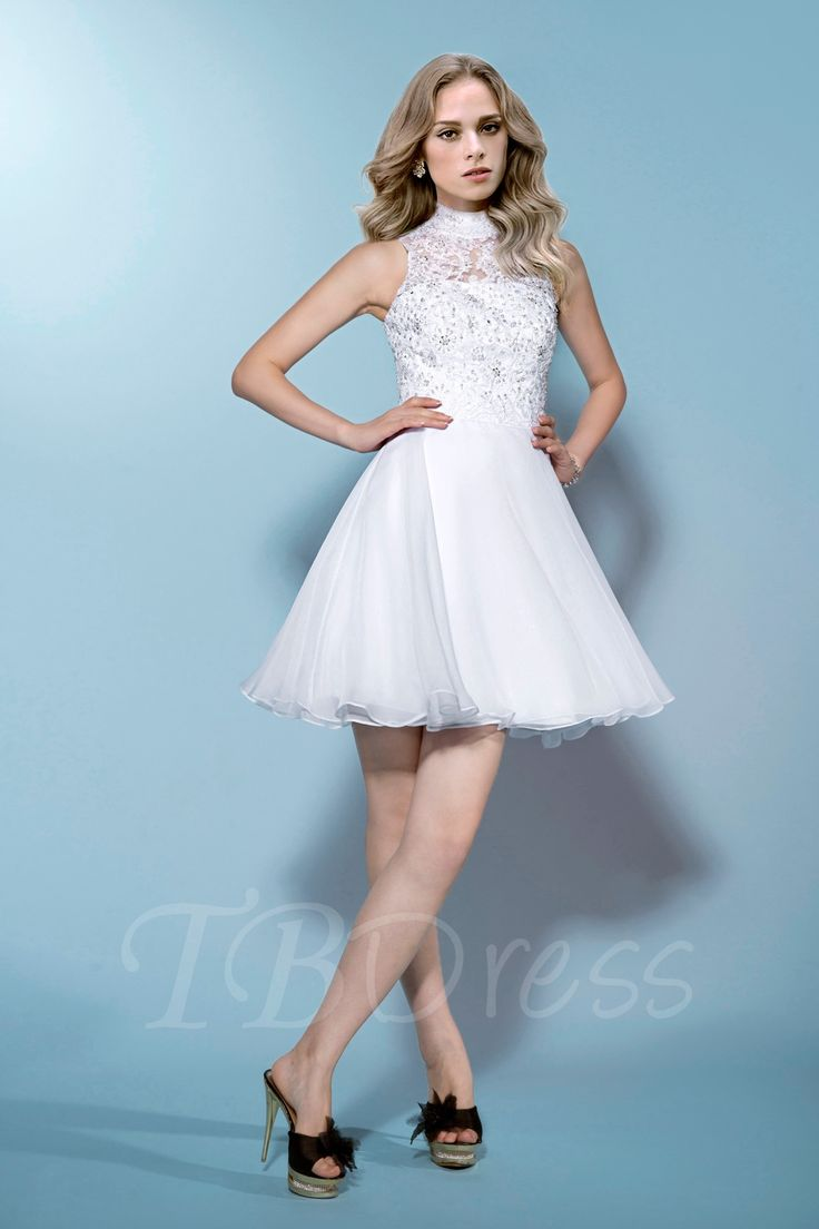 Sleeveless High-Neck Beading Lace Zipper-Up Short/Mini Wedding Dress