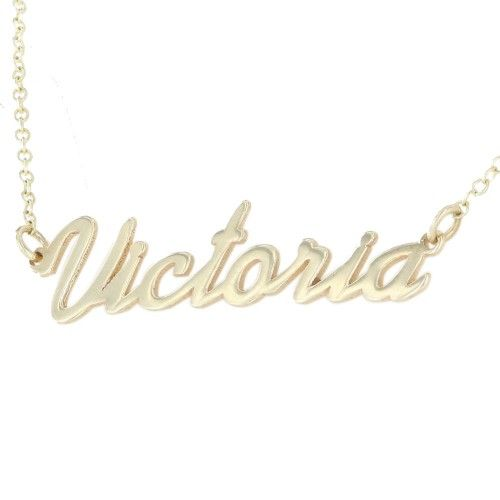 9ct Real Gold Personalised ANY NAME Necklace Pendant Girls Women Ladies Necklet - MEDIUM Font VRNhxhnr8p
