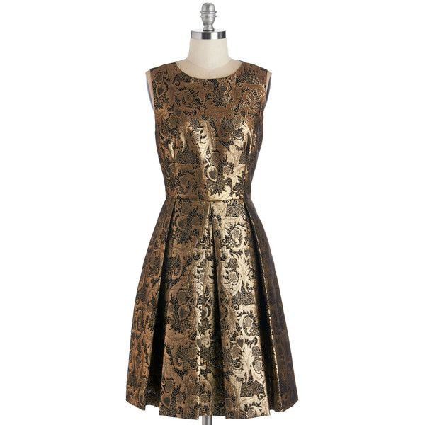 ModCloth Mid-length Sleeveless A-line Crisp Champagne Dress ($80) ❤ liked on Polyvore featuring dresses, gold, apparel, cocktail dresses, a line cocktail dress, evening party dresses, floral print cocktail dress and champagne cocktail dress