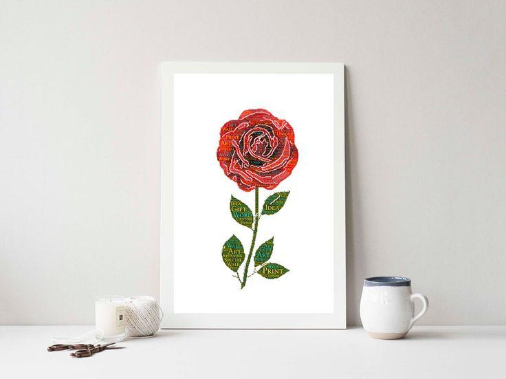 PERSONALISED Rose Word Art Wall Print Gift Idea