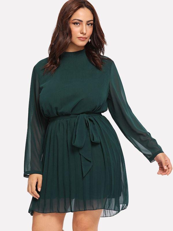 bcbbc35928e Plus Self Tie Waist Solid Dress -SheIn(Sheinside) #fashion #beautiful #tops  #style #outfits #Shoes