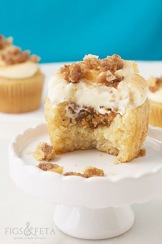 BAKLAVA Cupcakes Recipe. A sweet and delicious cupcake stuffed with baklava mixture and topped with cream-cheese frosting, cinnamon-sugar and crumbled baklava. http://thecupcakedailyblog.com/baklava-cupcakes-recipe-2/ /// very good! make more baklava filling so have more for crumble top (can doctor cake mix with orange zest + juice + spices)