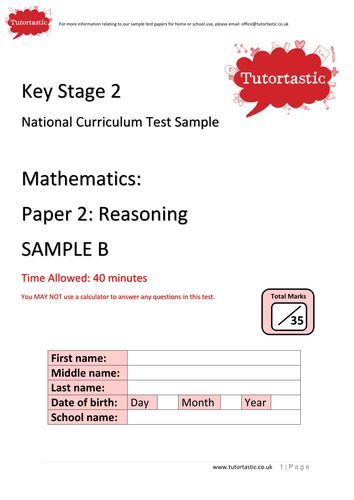 SATs 2016: Mathematics: Reasoning Paper 2 with answers SAMPLE B