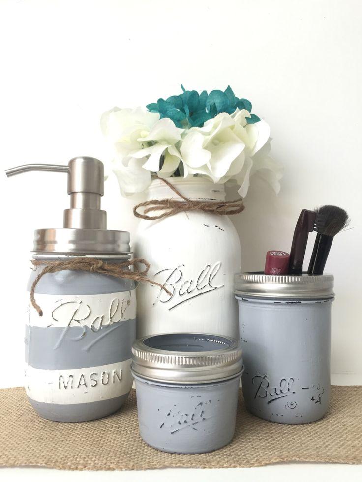 Gray Mason Jar Bathroom Set Striped Soap Dispenser White Vase Toothbrush Holder