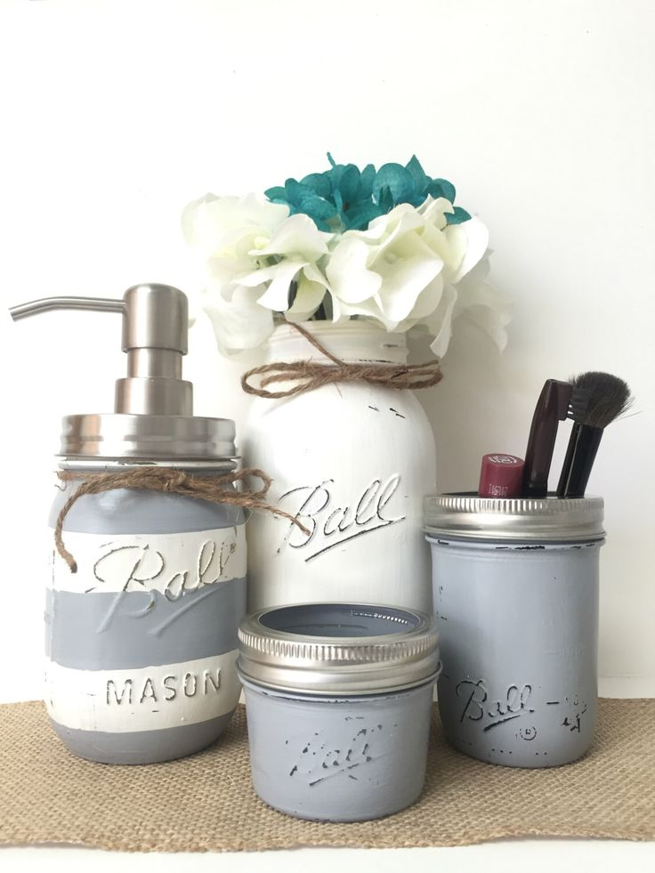 Gray Mason Jar Bathroom Set, Striped Soap Dispenser, White Vase, Toothbrush Holder, Rustic, Country, Cottage, Farmhouse Style, Wedding Gifts by PrettySimplyStudio on Etsy https://www.etsy.com/listing/457792408/gray-mason-jar-bathroom-set-striped-soap