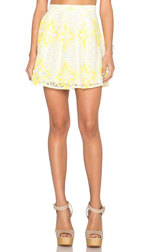 Chloe Oliver Frenchie Skirt in White & Canary   REVOLVE