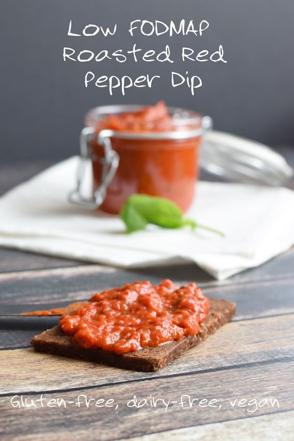 A simple low FODMAP roasted red pepper dip. Delicious on bread or to dip veggies or nacho chips in!