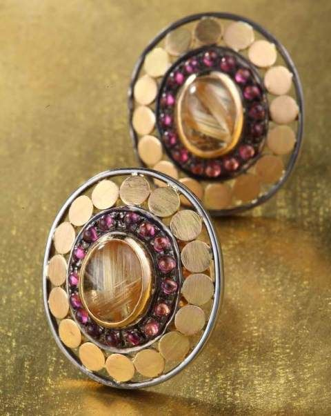 Gehna showcasing Contemporary Indian pair of ear studs handcrafted in an interesting mix of 18k gold and silver metals earrings online in Chennai.