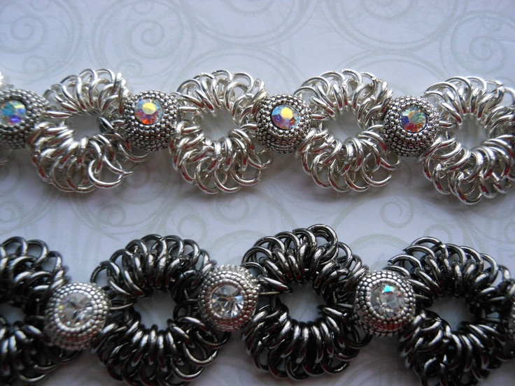 Chainmaille Lace and Crystal bracelet.