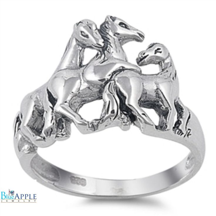Horse Ring Solid 925 Sterling Silver Three Horses Ring Spiritual Gift Horse Ring Horse Lovers Horse Jewelry