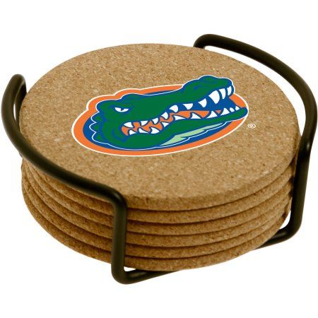 Set of Six Cork Coasters with Holder Included, University of Florida, Multicolor